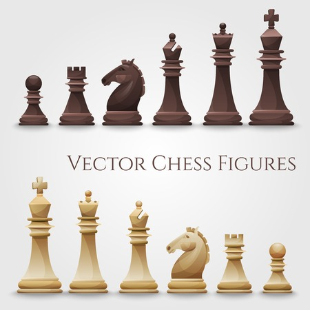 horses: Vector Chess Figures, black and white. Illustration
