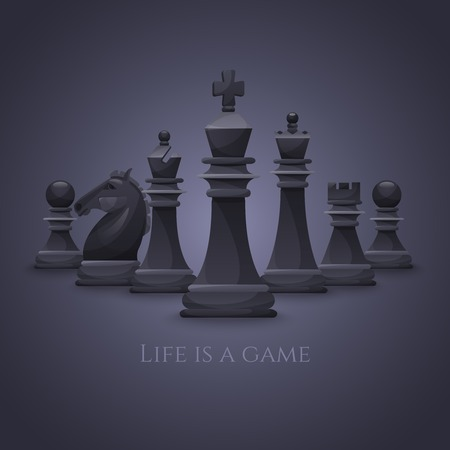 Vector Chess Figures, black and white. Illustration Vector