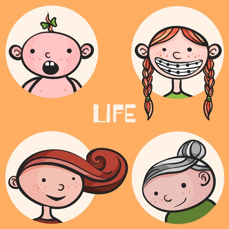 lifespan: Woman aging from child to senior. Vector Illustrator