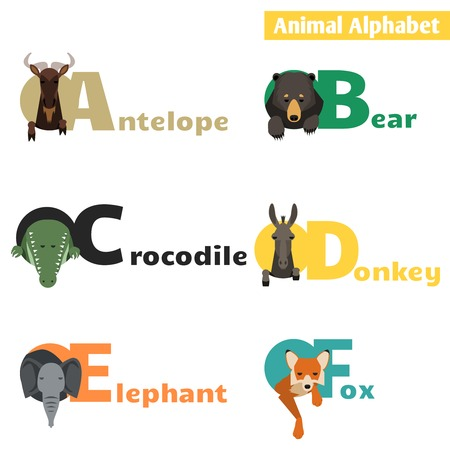 Animal alphabet. Letters A B C D E F Vector Illustration