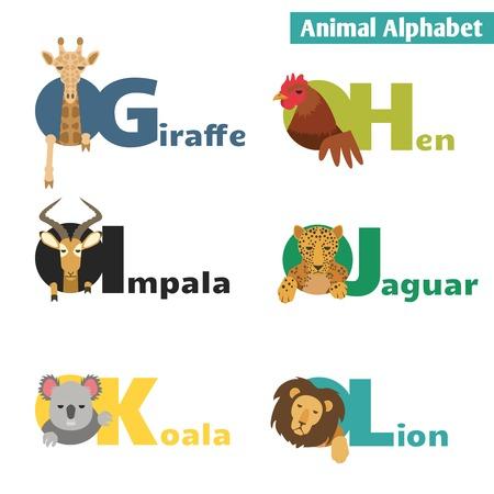 Animal alphabet. Letters G H I J K L Vector Illustration Vector