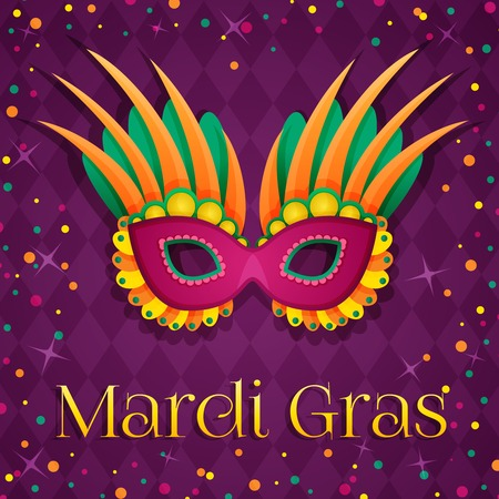 mardi gras background: Carnival mardi gras pink mask. Vector Illustration