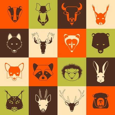gronostaj: Zwierzęta leśne ikony ustaw z modny design. Ilustracji wektorowych