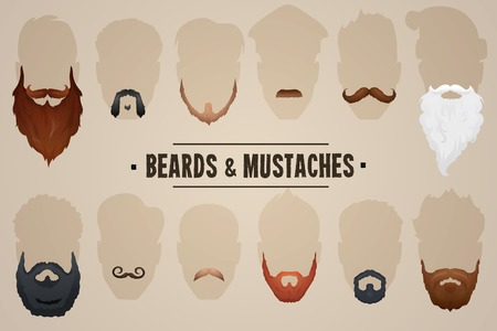 Beards and mustaches, different types. Vector Illustration Vectores