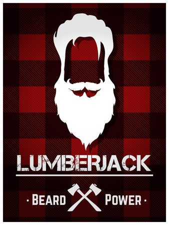 cut the competition: Lumberjack poster with long beard and text.
