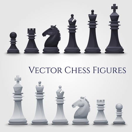 chess board: Vector Chess Figures, black and white. Illustration