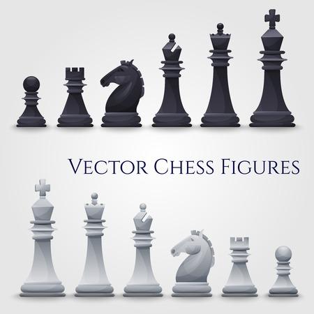 Vector scacchi figure, in bianco e nero. Illustrazione