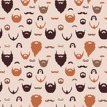 フラットなデザインとひげと口ひげを生やしてパターン。ベクトル イラスト。  イラスト・ベクター素材
