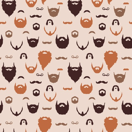Beards and Mustaches pattern with flat design. Vector Illustration.