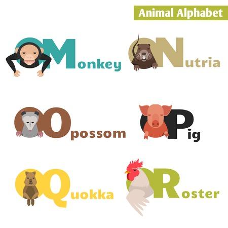 r p m: Animal alphabet M N O P Q R. Letters  Vector Illustration