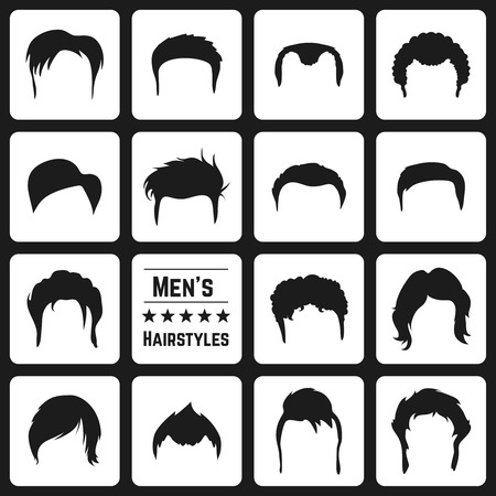 long hair: Different types of Mens haircuts. Vector Illusatrtion