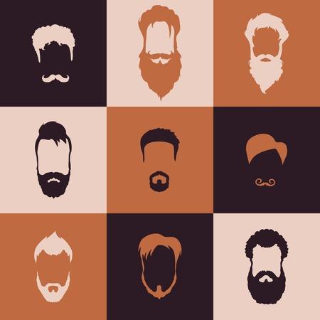 ひげと口ひげを生やして平らな設計と設定
