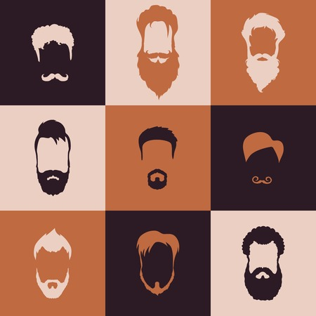 Beards and Mustaches set with flat design Illustration