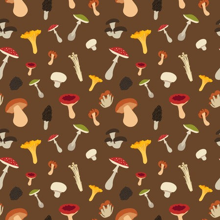 morel: Mushroom seamless pattern with flat design. Vector Illustration Illustration