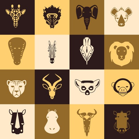 African animals icons with flat design. Vector Illustration Vector
