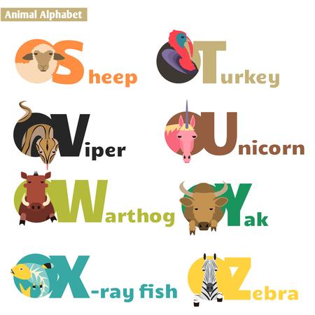 Animal alphabet S T U V W X Y Z. Letters  Vector Illustration Vector