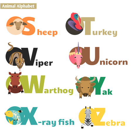 u  s  a: Animal alphabet S T U V W X Y Z. Letters  Vector Illustration