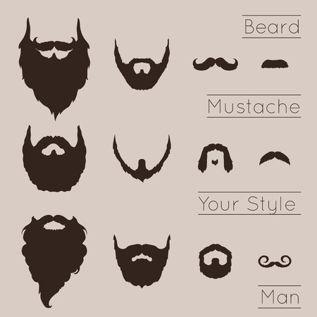 Beards and Mustaches set with flat design Illustration.