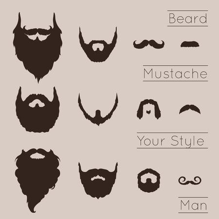 Barbas y Bigotes fijados con diseño Ilustración plana. Foto de archivo - 37043545