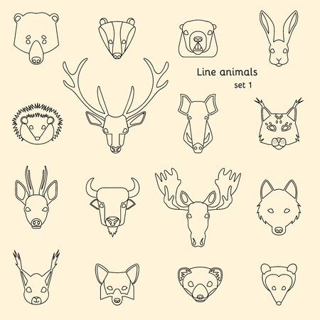 head icon: Forest animals line icons set. Vector Illustration