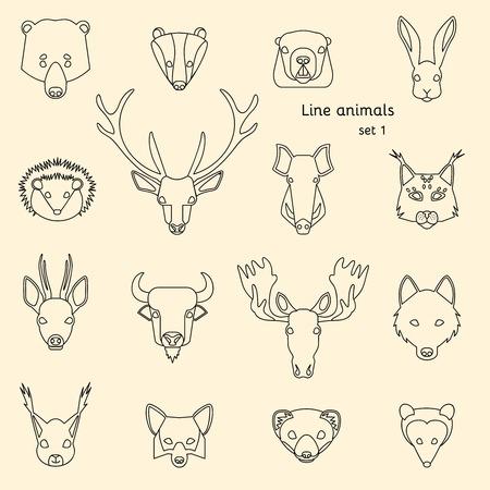 castor: Iconos de la línea Los animales del bosque establecen. Ilustración vectorial