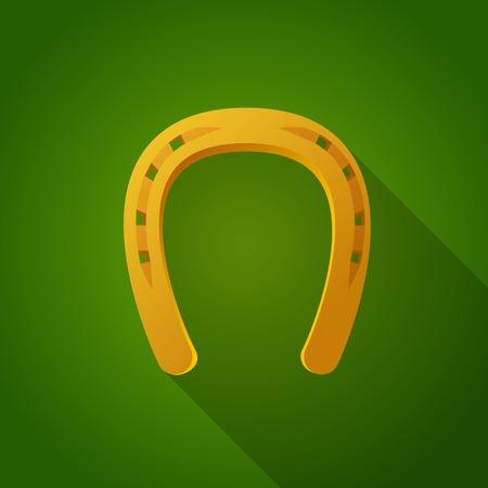 Golden horse shoe on green background. Vector