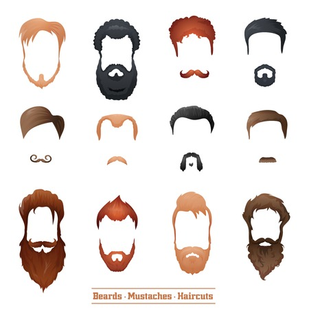 Beards and Mustaches and Hairstyles set different types of haircuts Vector Illustration. Ilustracja
