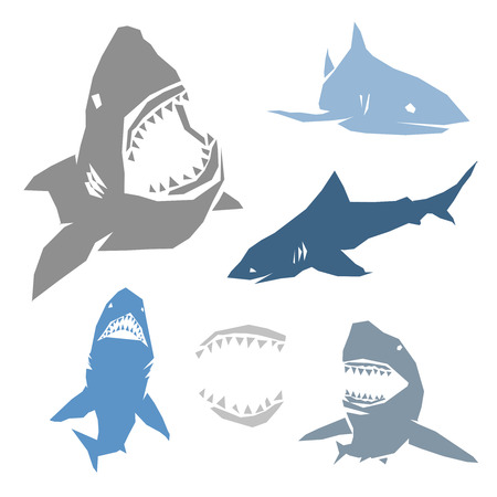 Set of big sharks with different color. Vector illustration. Illustration