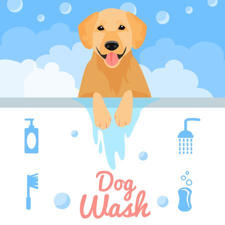 ba�arse: Lavado del perro en el ba�o en estilo plano. Ilustraci�n vectorial