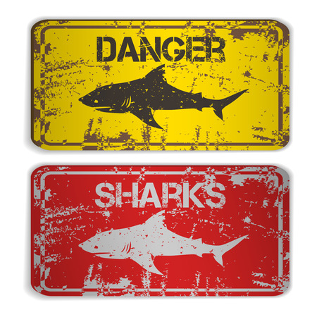 Two awarning plates with sharks. Vector illustration Vectores