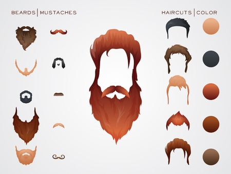 constructor: Beards and Hairstyles in constructor. Vector Illustration.