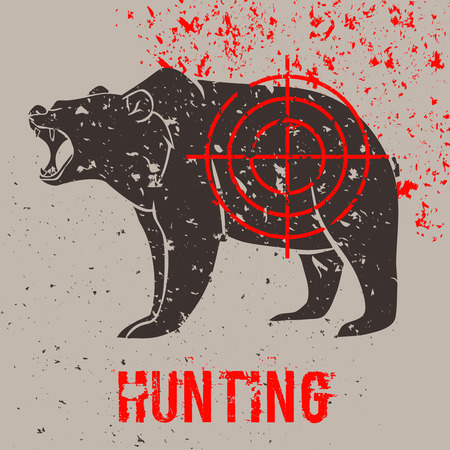 head shot: Big black bear roaring with aim on it. Vector illustration with grunge design