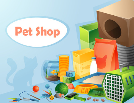 toy toilet bowl: Pet shop concept with text. Vector illustration.