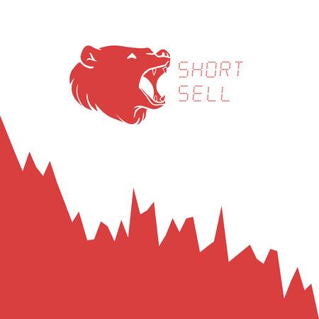 bearish business: Bear short selling finance concept. Vector illustration