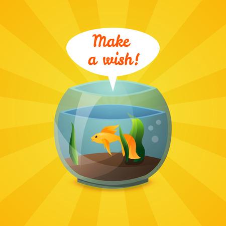 golden fish: Golden fish just make a wish. Vector illustration.