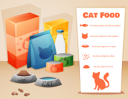 Cat food concept background with text. Vector illustration Vector