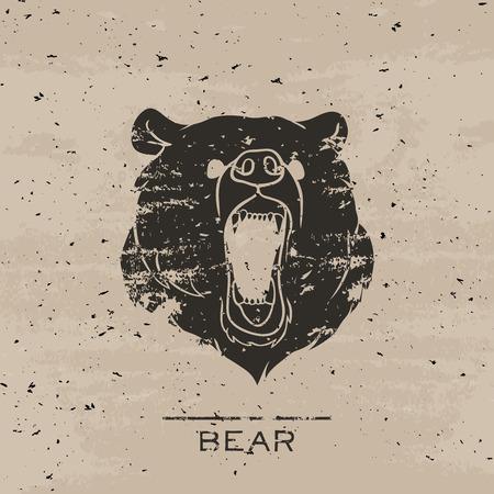大きな黒い熊轟音。グランジ デザインのベクトル図