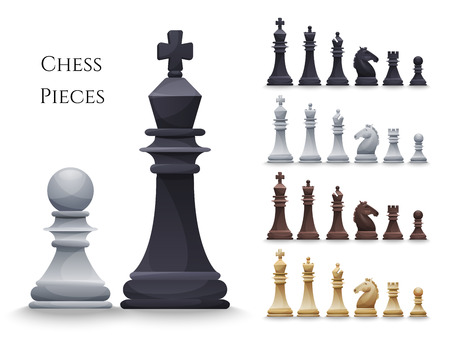 chess piece: Vector Chess Figures big set, black and white. Illustration