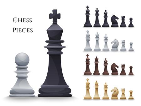 Wektor szachy duży zestaw, czarny i biały. Ilustracja