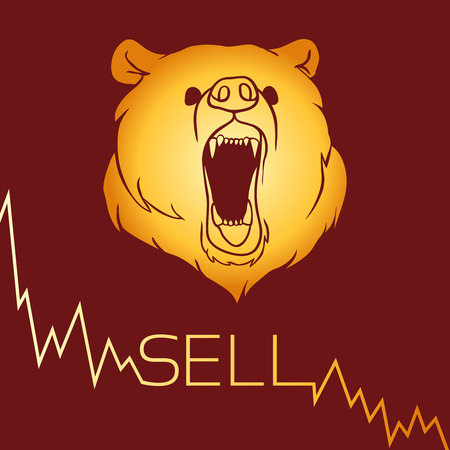 short: Bear short selling finance concept. Vector illustration