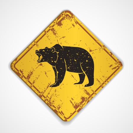 grizzly: Old metal plate with roaring bear.Vector illustration
