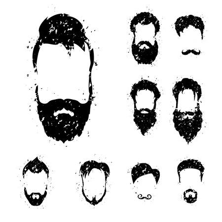 Beard set with grunge style . Vector illustration