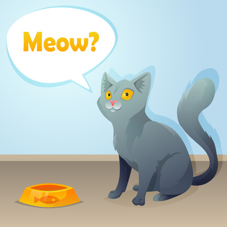 Cat characters ask for food. Vector illustration. Vector