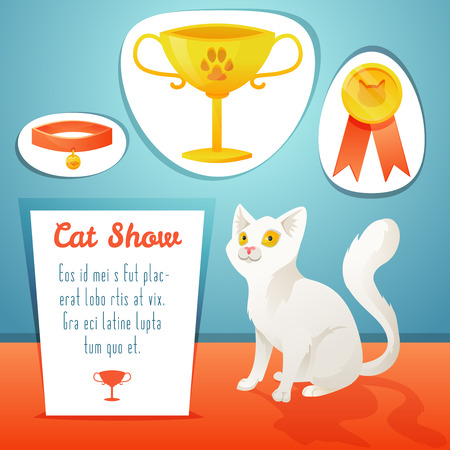 cat paw: Winner cat with few Trophies. Vector illustration. Illustration