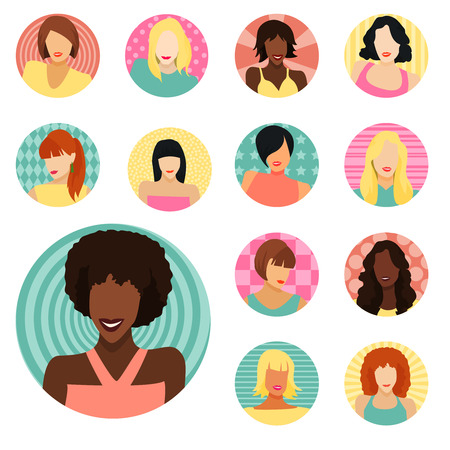 Set of female portraitsicons . Vector Illustration Vector
