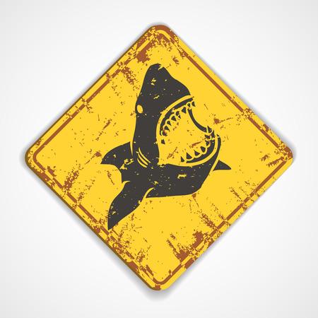 Danger shark metal rudty plate. Vectro Illustration