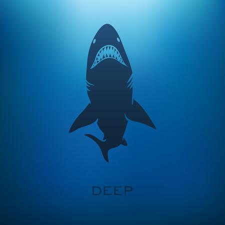 ぼかしの背景を持つサメのコンセプトです。ベクトル図