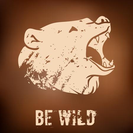 Big black bear roaring. Vector illustration with grunge design Illustration