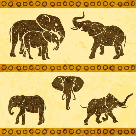 elephant head: 5 african elephants set . Vector illustration