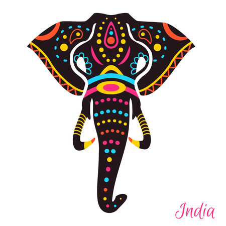 ancient elephant: Indian Elephant head with drawing. Vector illustration